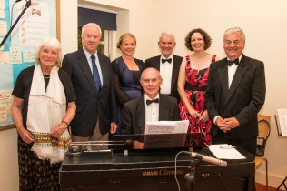 (L-R) Judith Hepper, Philip, Rebekah Abbott, David Bonser, James Willis, Helen Harvey, John Minett, Music By Philip Andrews, Jane Austen House Museum, Chawton - July 2014
