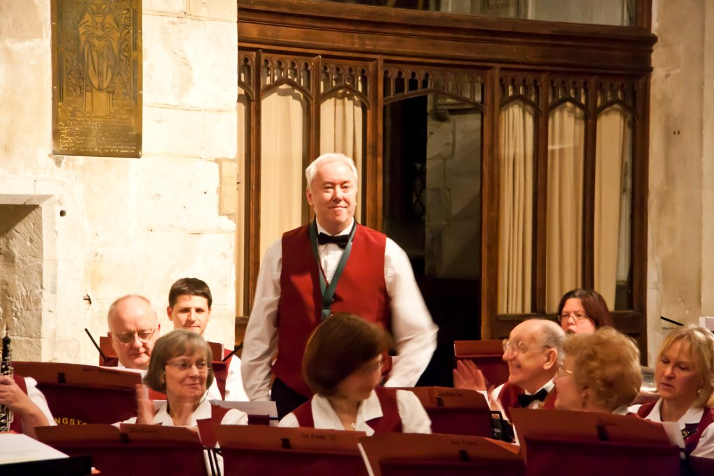 Philip taking a bow, Basingstoke Concert Band Christmas Concert, Basingstoke - December 2013