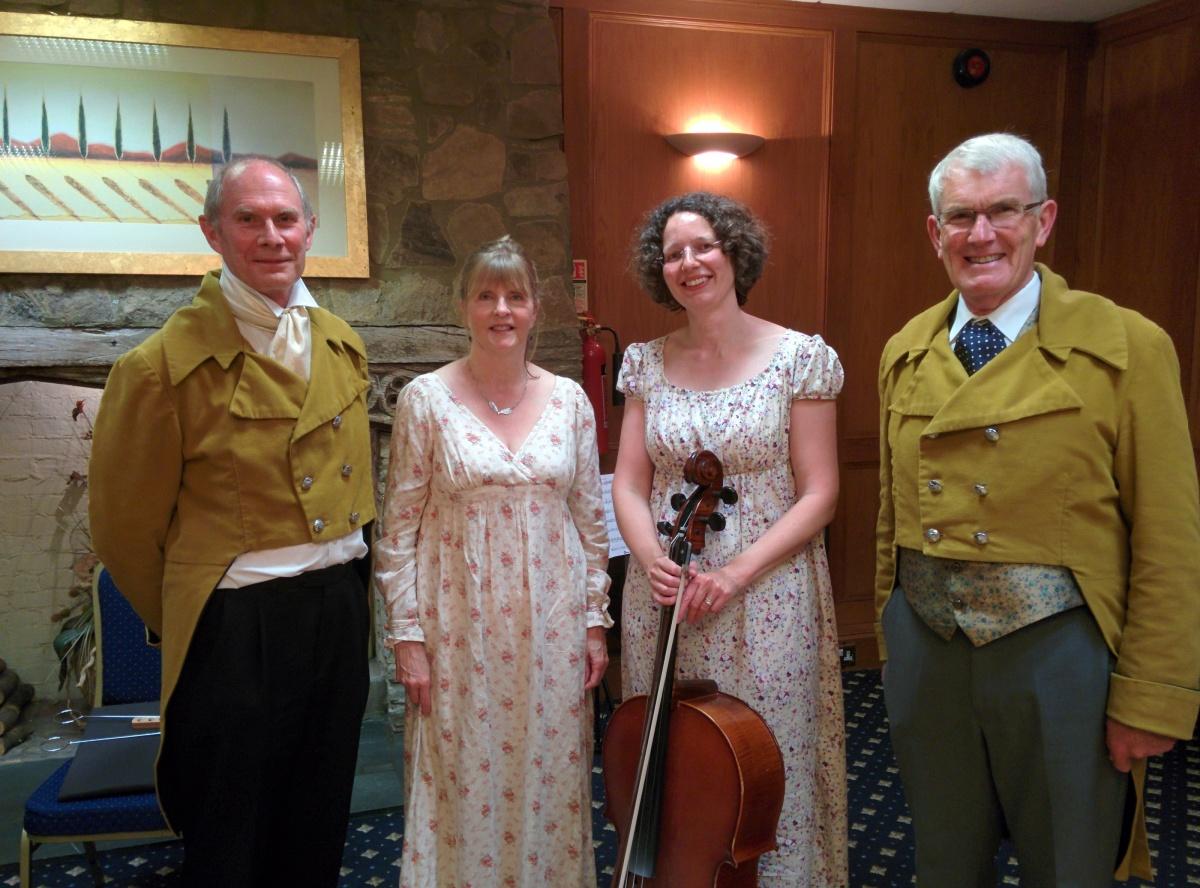 (L-R) David Bonser (piano), Ruth Parr (soprano), Helen Harvey (cello) and James Willis (narrator)